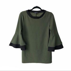 Slinky brand green half flare sleeve shirt Medium